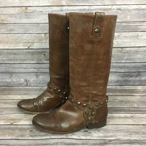 Frye Melissa Honeycomb Brown Leather Boots